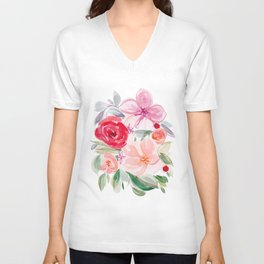 Group Hug - Abstract Floral Watecolor Print Unisex V-Neck
