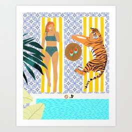 How To Vacay With Your Tiger #illustration Art Print