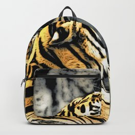 Tiger roar Woodblock Style Backpack