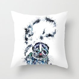 Baby Skunk Watercolor Painting Throw Pillow