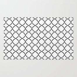 Black Quatrefoil - Baby Stimulation Pattern Rug