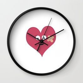 Heart face with patch Wall Clock