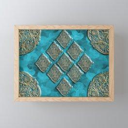 Teal Swirls and Gold Embossed Oriental Designs Framed Mini Art Print