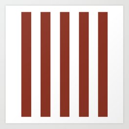 Burnt umber brown - solid color - white vertical lines pattern Art Print