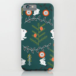 Winter holidays with bunnies iPhone Case