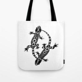 Tangled Geckos on White Tote Bag