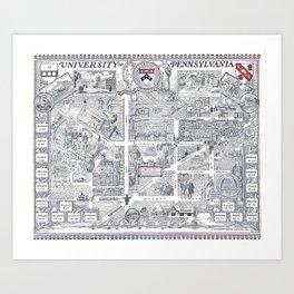 PHILADELPHIA University map PENNSYLVANIA dorm decor Art Print