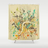 london map Shower Curtains featuring LONDON MAP by Nicksman