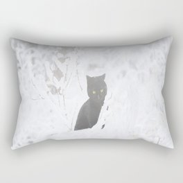 Black Cat White Snow #decor #society6 Rectangular Pillow