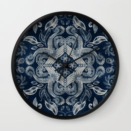 Indigo blue dirty denim textured boho pattern Wall Clock