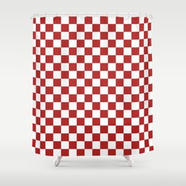 Small Checkered - White and Firebrick Red Shower Curtain