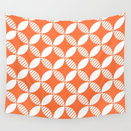 Mid Century Modern Geometric Flower Pattern Orange 2 Wall Tapestry
