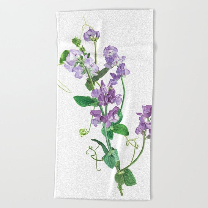 Purple Lathyrus Sweet Pea Beach Towel