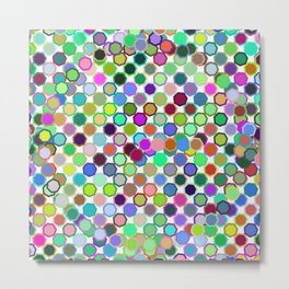 Abstract neon pink teal lavender octagon polka dots pattern Metal Print