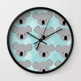 koala Seamless pattern with funny cute animal face on a blue background Wall Clock