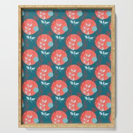 Floral Pattern   Living Coral on Dark Blue Serving Tray