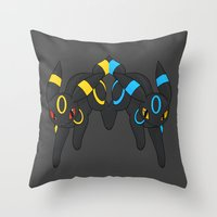 umbreon Throw Pillows featuring Umbreon Duo by Kurew Kreations