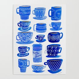 Coffee Mugs and Tea Cups - A study in blues Poster