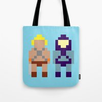 skeletor Tote Bags featuring He-Man and Skeletor by Pixel Icons