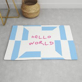 hello world 4 blue Rug