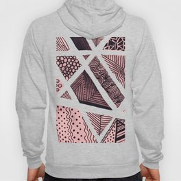 Geometric doodle pattern - pink and black Hoody