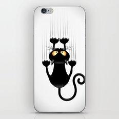 Black Cat Cartoon Scratching Wall iPhone Skin