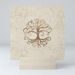 Tree of life Pastel Gold on Canvas Mini Art Print
