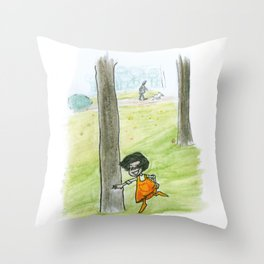 The little girlg in orange. Dancing with a tree. Throw Pillow