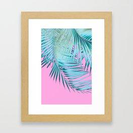 Palm Leaves Pink Blue Vibes #1 #tropical #decor #art #society6 Framed Art Print