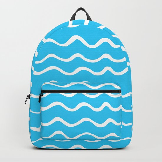 Simple aqua and white handrawn waves - for your summer on #Society6 Backpack