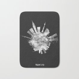 Tokyo Black and White Skyround / Skyline Watercolor Painting (Inverted Version) Bath Mat