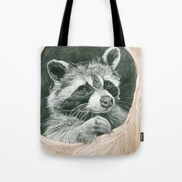 Raccoon In A Hollow Tree Tote Bag