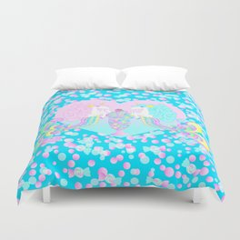 Mermicorn Twins Candy and Bubbles Duvet Cover