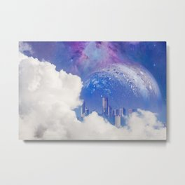 Beautiful white clouds reveal modern city skyscrapers and huge alien planet with galaxy Metal Print