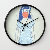 pin up Wall Clocks featuring pin up by Balazs Solti