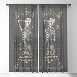 High Priestess II Tarot Card Sheer Curtain