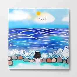 Onsen by the sea Metal Print