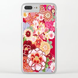 Red Floral Burst Clear iPhone Case