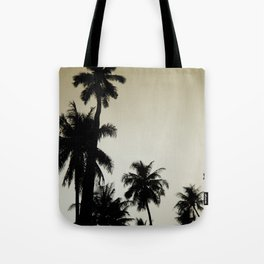 Tropical palm trees on yellow Tote Bag