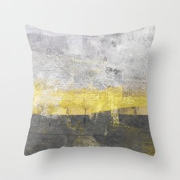 Yellow and Grey Abstract Painting - Horizontal Throw Pillow