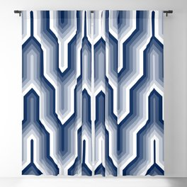 Retro Chevron Blue Blackout Curtain