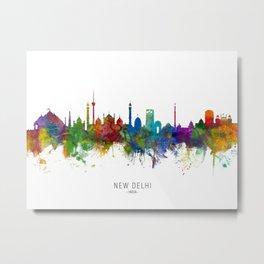 New Delhi India Skyline Metal Print