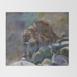 The Mountain King - Cougar Wildlife Art Throw Blanket