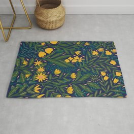 Golden flowers Rug