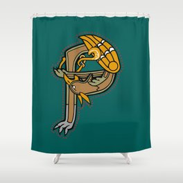 Celtic Medieval Griffin Letter P Shower Curtain