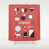 ouat Shower Curtains featuring OUAT - A Queen by Redel Bautista