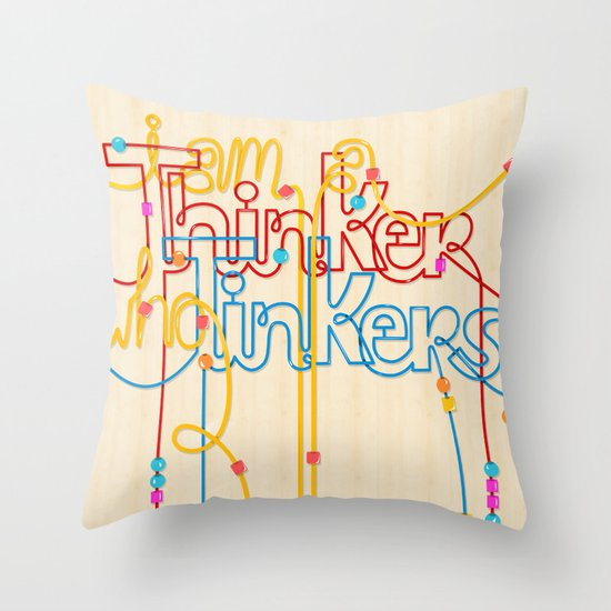 Tinkering Thinker Throw Pillow