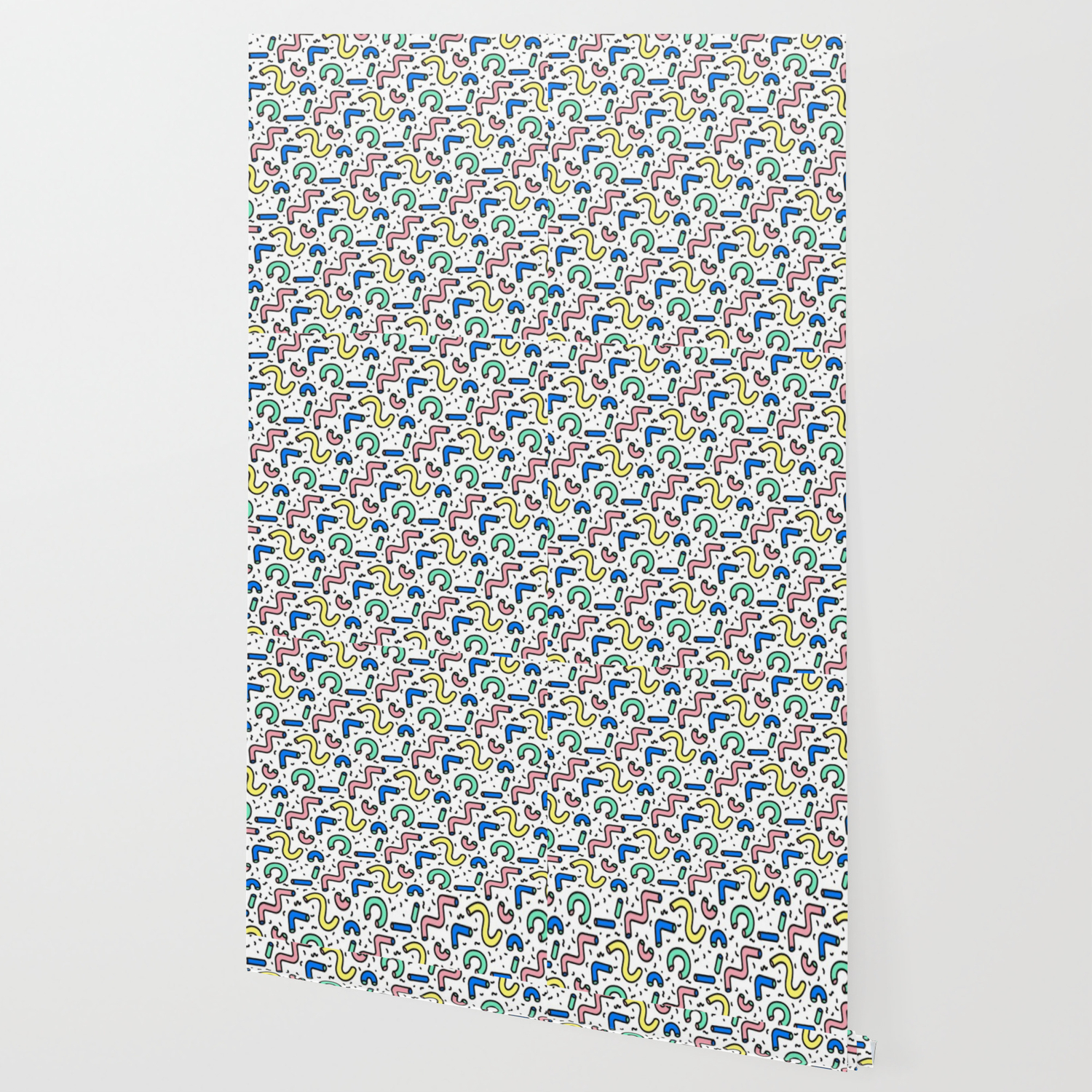 80s 90s Keith Haring Style Squiggle Pattern Wallpaper