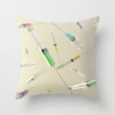 Syringe frenzy Throw Pillow