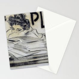 12,000pixel-500dpi - Ramon Casas - Headpiece For The Magazine 'pel And Ploma' - Digital Remaster Stationery Cards